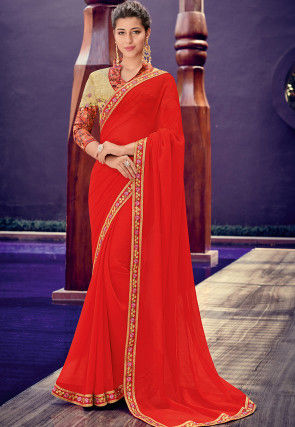 Embroidered Border Chiffon Saree in Red