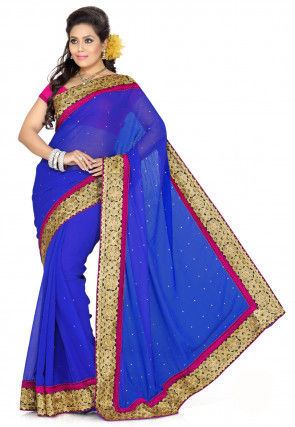 Embroidered Border Chiffon Saree in Royal Blue