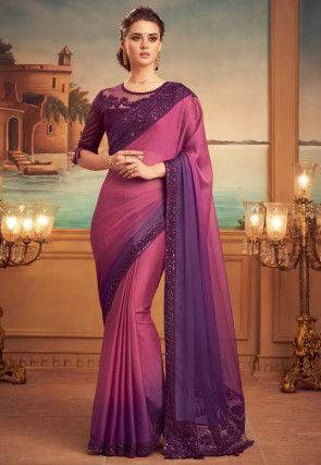 Embroidered Border Chiffon Saree in Shaded Pink and Purple