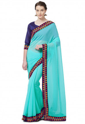 Embroidered Border Chiffon Saree in Turquoise