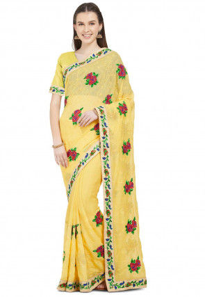 Embroidered Border Chiffon Saree in Yellow