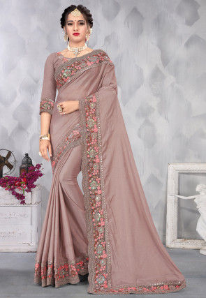 Embroidered Border Chiffon Shimmer Scalloped Saree in Old Rose