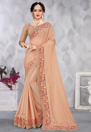 Embroidered Border Chiffon Shimmer Scalloped Saree in Peach