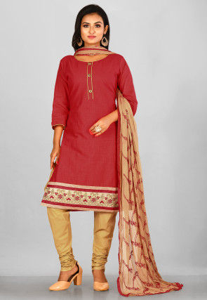 Embroidered Border Cotton Slub Straight Suit in Coral Red