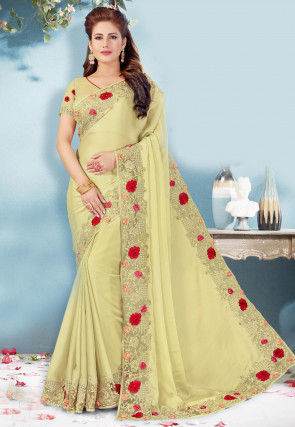 Embroidered Border Crepe Saree in Pastel Green