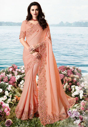 Embroidered Border Crinkled Satin Georgette and Net Saree in Peach