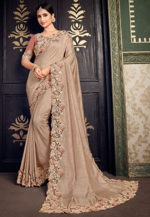 Embroidered Border Dupion Silk Saree in Beige