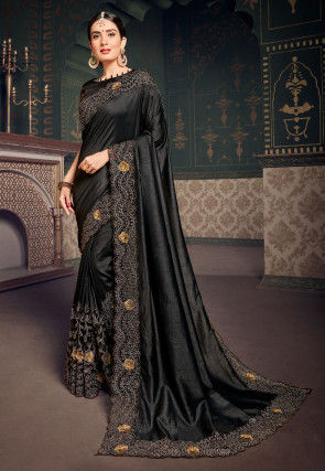 Embroidered Border Dupion Silk Saree in Black