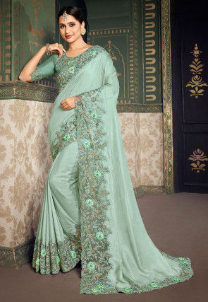 Embroidered Border Dupion Silk Saree in Light Teal Green