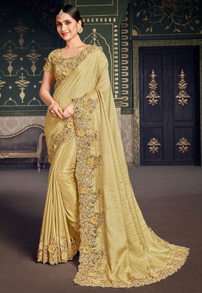 Embroidered Border Dupion Silk Saree in Light Yellow