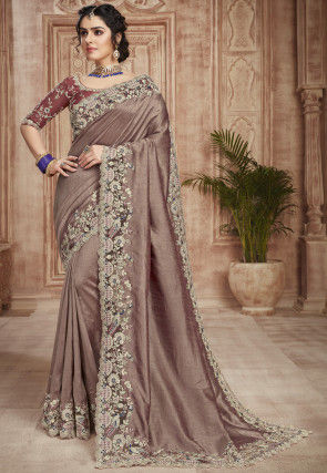 Embroidered Border Dupion Silk Scalloped Saree in Old Rose