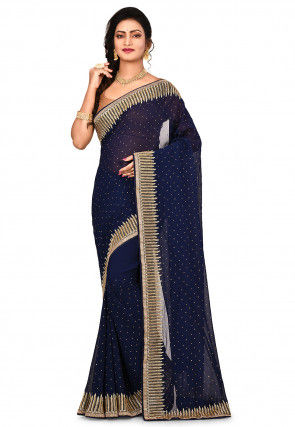 Embroidered Border Faux Georgette Saree in Navy Blue