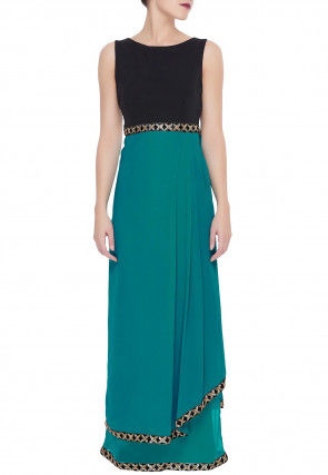 Embroidered Border Georgette Dress in Teal Blue and Black