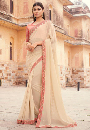 Embroidered Border Georgette Saree in Beige