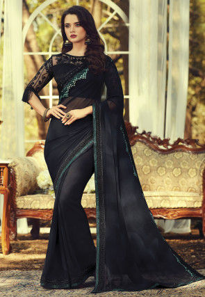 Embroidered Border Georgette Saree in Black