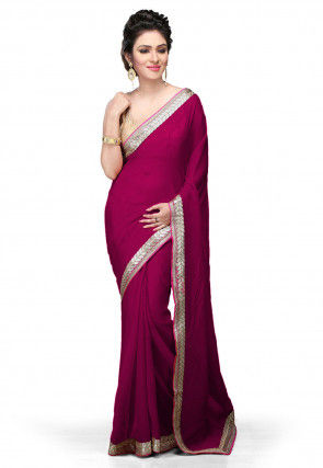 Embroidered Border Georgette Saree in Fuchsia