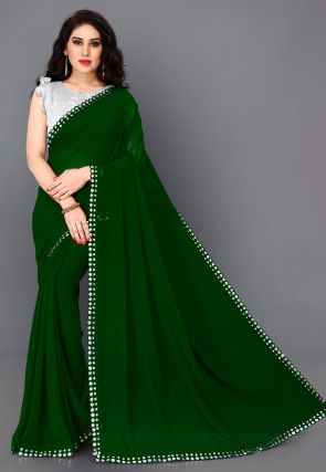 Embroidered Border Georgette Saree in Green
