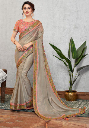 Embroidered Border Georgette Saree in Grey