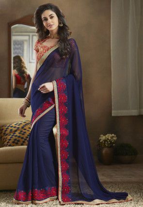 Embroidered Border Georgette Saree in Navy Blue