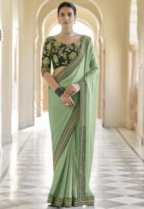 Embroidered Border Georgette Saree in Pastel Green