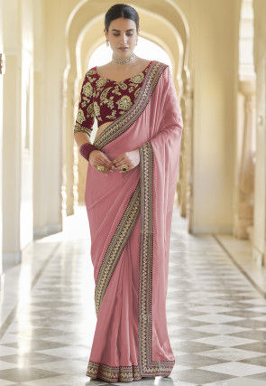 Embroidered Border Georgette Saree in Pink