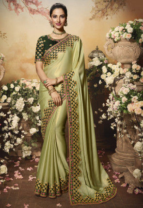 Embroidered Border Georgette Shimmer Saree in Light Green