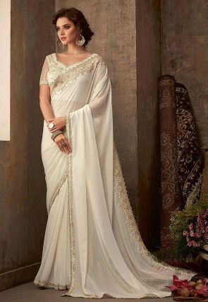 Embroidered Border Georgette Shimmer Saree in Off White