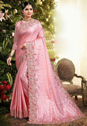 Embroidered Border Georgette Shimmer Saree in Pink