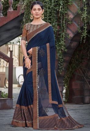 Embroidered Border Georgette Silk Saree in Dark Teal Blue
