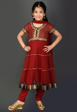 Embroidered Border Net Anarkali Suit in Maroon
