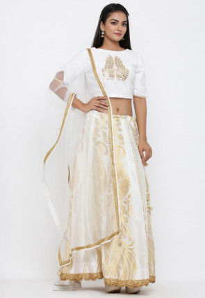 Embroidered Border Net Dupatta in Off White
