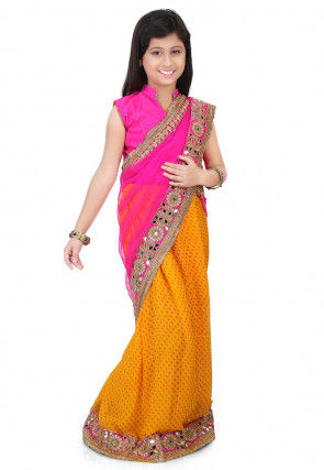 Embroidered Border Net Half N Half Saree in Fuchsia
