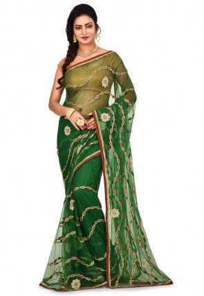 Embroidered Border Net Saree in Green