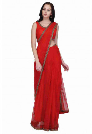 Embroidered Border Net Saree in Red