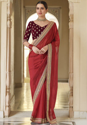 Embroidered Border Organza Saree in Red