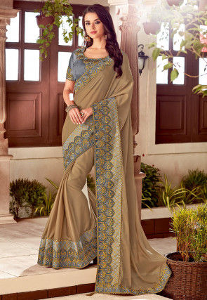 Embroidered Border Satin Georgette Saree in Beige