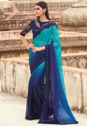 Embroidered Border Satin Georgette Saree in Blue Ombre
