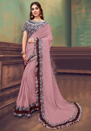 Embroidered Border Satin Georgette Saree in Dusty Pink
