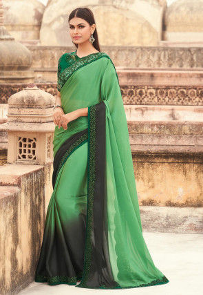 Embroidered Border Satin Georgette Saree in Green Ombre