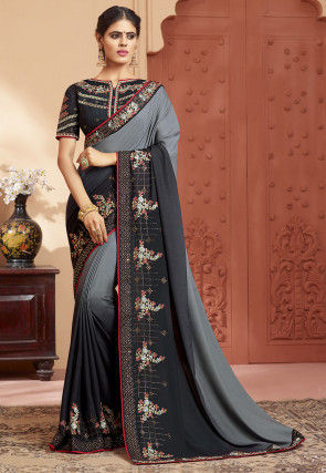 Embroidered Border Satin Georgette Saree in Grey and Black