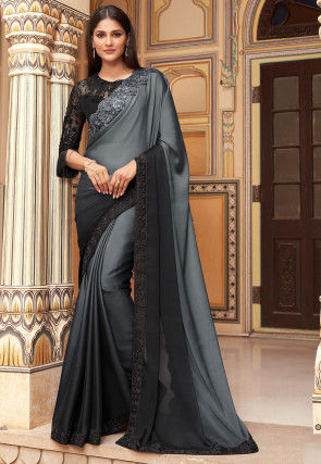 Embroidered Border Satin Georgette Saree in Grey Ombre