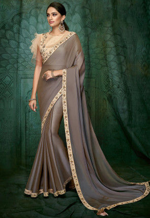 Embroidered Border Satin Georgette Saree in Grey