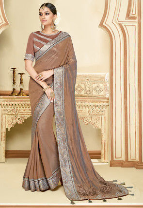 Embroidered Border Satin Georgette Saree in Light Brown