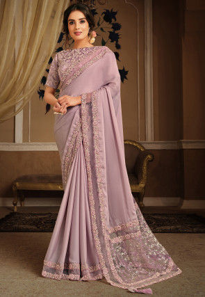 Embroidered Border Satin Georgette Saree in Lilac