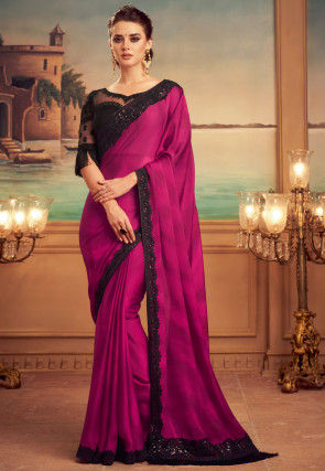 Embroidered Border Satin Georgette Saree in Magenta