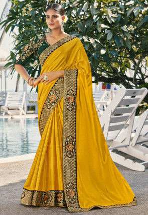 Embroidered Border Satin Georgette Saree in Mustard