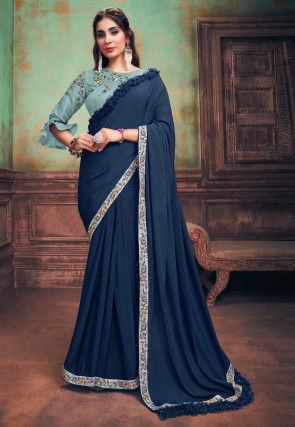 Embroidered Border Satin Georgette Saree in Navy Blue