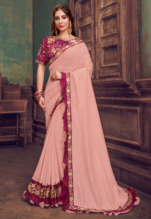 Embroidered Border Satin Georgette Saree in Peach