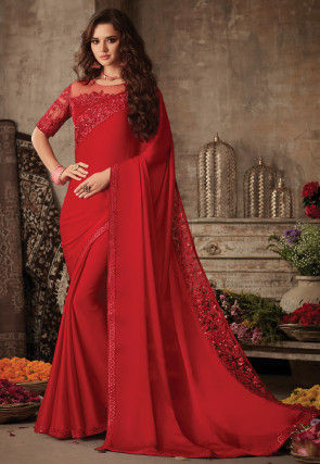 Embroidered Border Satin Georgette Saree in Red