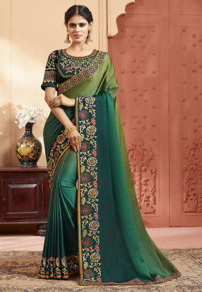 Embroidered Border Satin Georgette Saree in Shaded Green